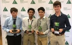 Logan Smith, Josiah Pittman, Saul Torres and Tanner Long bring home the second place win on October 24 at the Junior Achievement Virtual Challenge