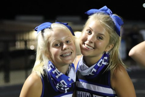 Cousins Addi and Demi Ferguson cheering at the Varsity football game vs. Sabine on August 28th.