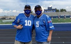 Harlan and Bob cheer on Panther Nation on August 28th at 3:30pm at the SH vs Sabine Pep Rally.