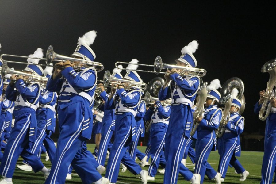 Springhills Blue Birgade marches at halftime on September,18,2020