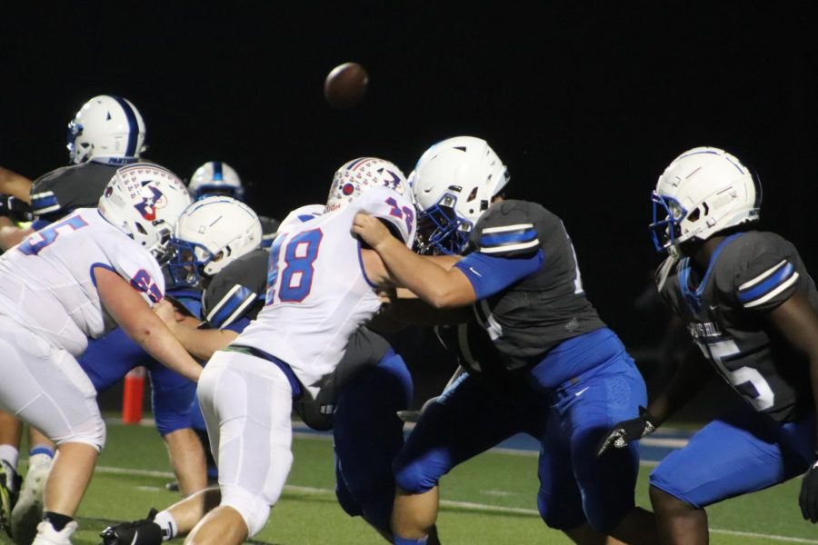 Spring Hill's offensive line locks up with Bullard's defensive line during the homecoming football game last Friday.