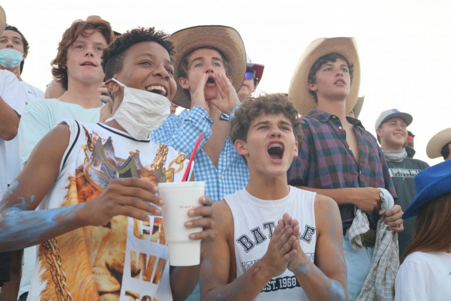 The Pack cheers on the football team at the first football game on August 28, 2020.  Photographer: Julya Socoteanu
