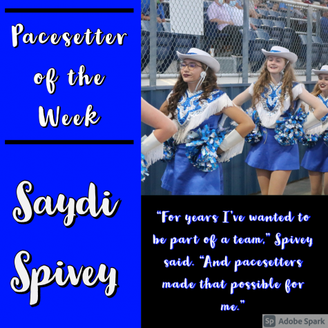 Saydi Spivey and the pacesetters walk to the bleachers on September 11.