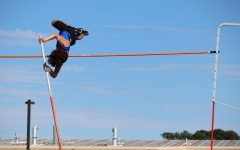 Sophomore Caden Newman completely clears the bar at the Gladewater track meet last Thursday.