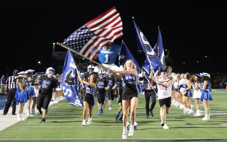 Varsity Panthers re-enter the game after halftime, rested and ready to rumble with the Roughnecks for SHSs Homecoming festivities Sept. 10.