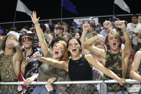 Seniors Reece Malone, Tayler Riehemann, Ashlyn Smith, Sara Kate, Owen Tipton and Ben Puckett cheer on the football team as they take on Brook Hill at home, 9/3.